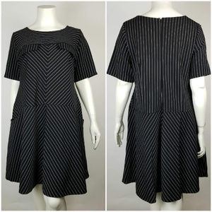 Eloiquii Dress Pin Striped Pockets Sz 22
